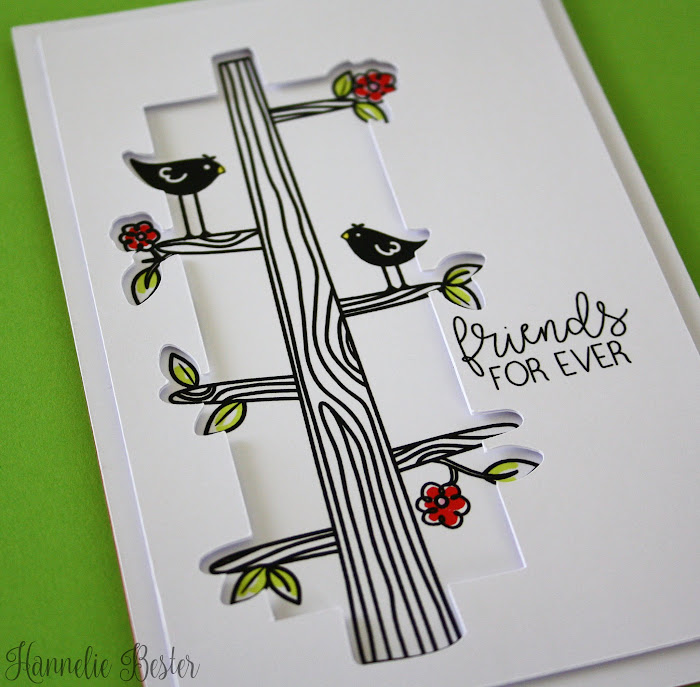 hero arts birds in a tree friendship card