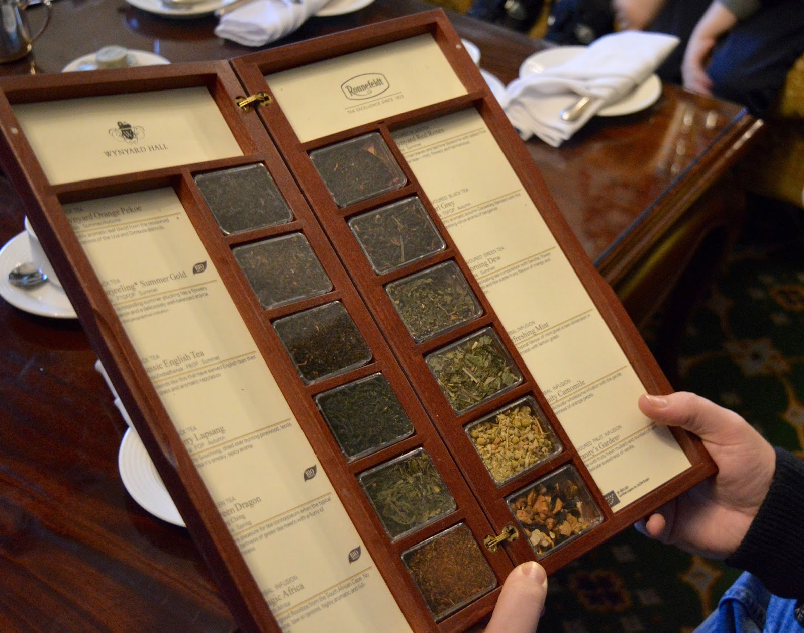 Afternoon tea at Wynyard Hall (with kids) - A Review - tea menu and selection