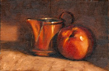 Oil painting of a small copper jug beside a yellow nectarine.