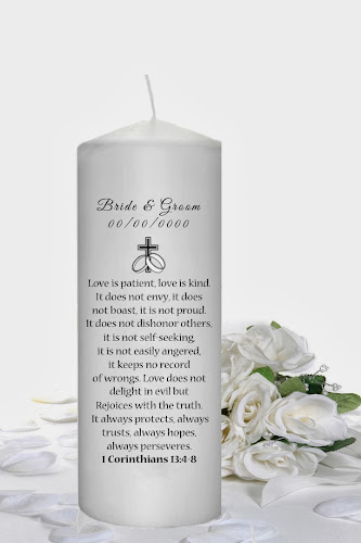 Unity Candles With 1 Corinthians 13 4 8 Verse
