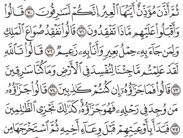 Tafsir Surat Yusuf Ayat 71, 72, 73, 74, 75