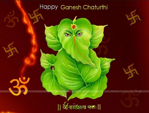 Happy Ganesh Chaturthi Leafs Wallpaper