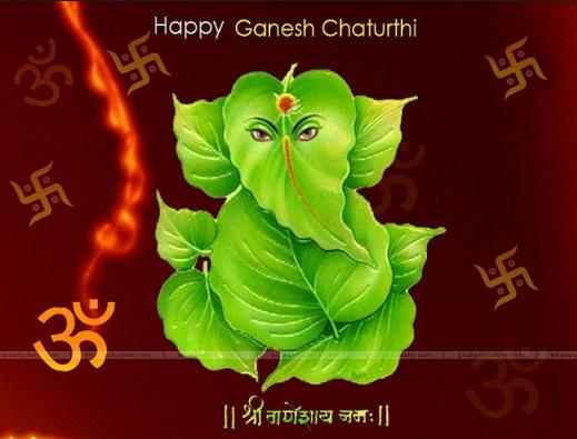 Happy Ganesh Chaturthi Leafs Wallpaper