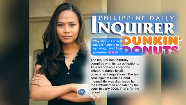 Int'l relations expert silences Inquirer after it answered her post on Dunkin tax evasion