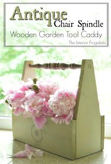 Antique Chair Spindle Wooden Garden Caddy