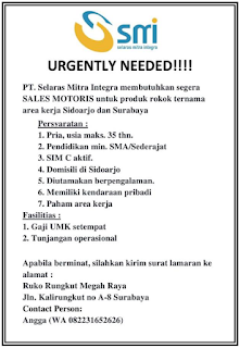 Urgently Needed PT. Selaras Mitra Integra Surabaya Terbaru Maret 2018