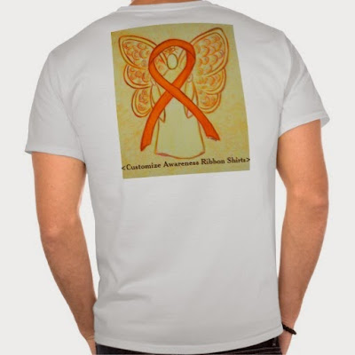 Orange Awareness Ribbon Guardian Angel Art Custom Shirts Apparel Team Walk Fundraiser