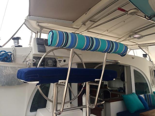 Lagoon 380 sail catamaran helm