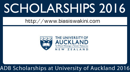 Asian Development Bank Scholarships at University of Auckland 2016
