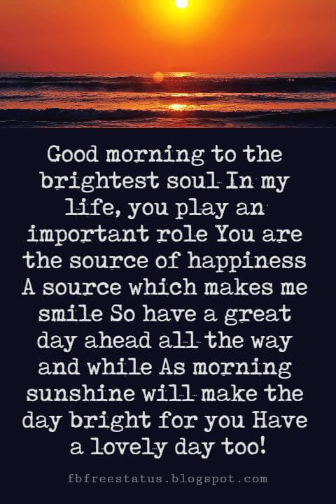 Sweet Good Morning Messages, Good morning to the brightest soul In my life, you play an important role You are the source of happiness A source which makes me smile So have a great day ahead all the way and while As morning sunshine will make the day bright for you Have a lovely day too!