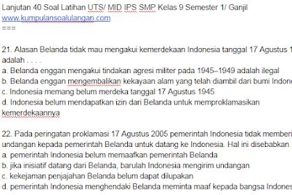 40 Soal Latihan UTS/ MID IPS SMP Kelas 9 Semester 1/ Ganjil