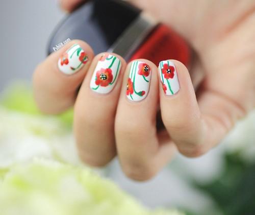 tuto nail art coquelicot