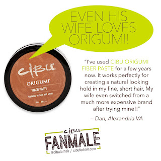 Dan uses Cibu Origumi Fiber Paste to style his short fine hair. He even converted his wife from a more expensive salon brand.