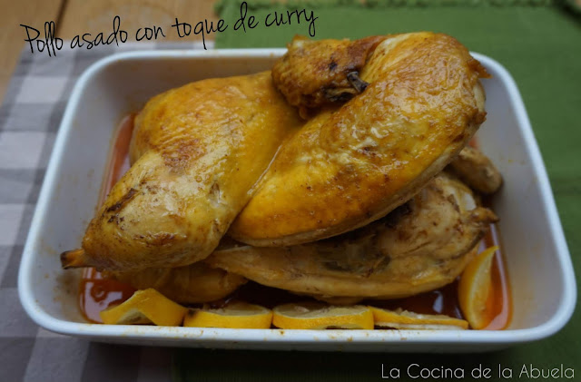 Pollo asado con toque de curry.