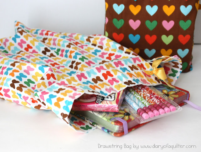 Fat quarter drawstring bag tutorial featured by top US sewing blog, Diary of a Quilter
