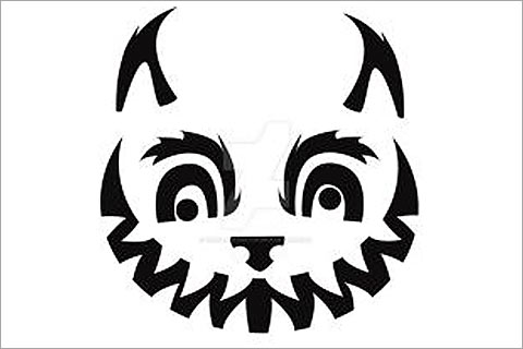 grumpy and kitty vampire cat face pumpkin stencil:-