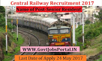 Central Railway Recruitment 2017– Senior Resident