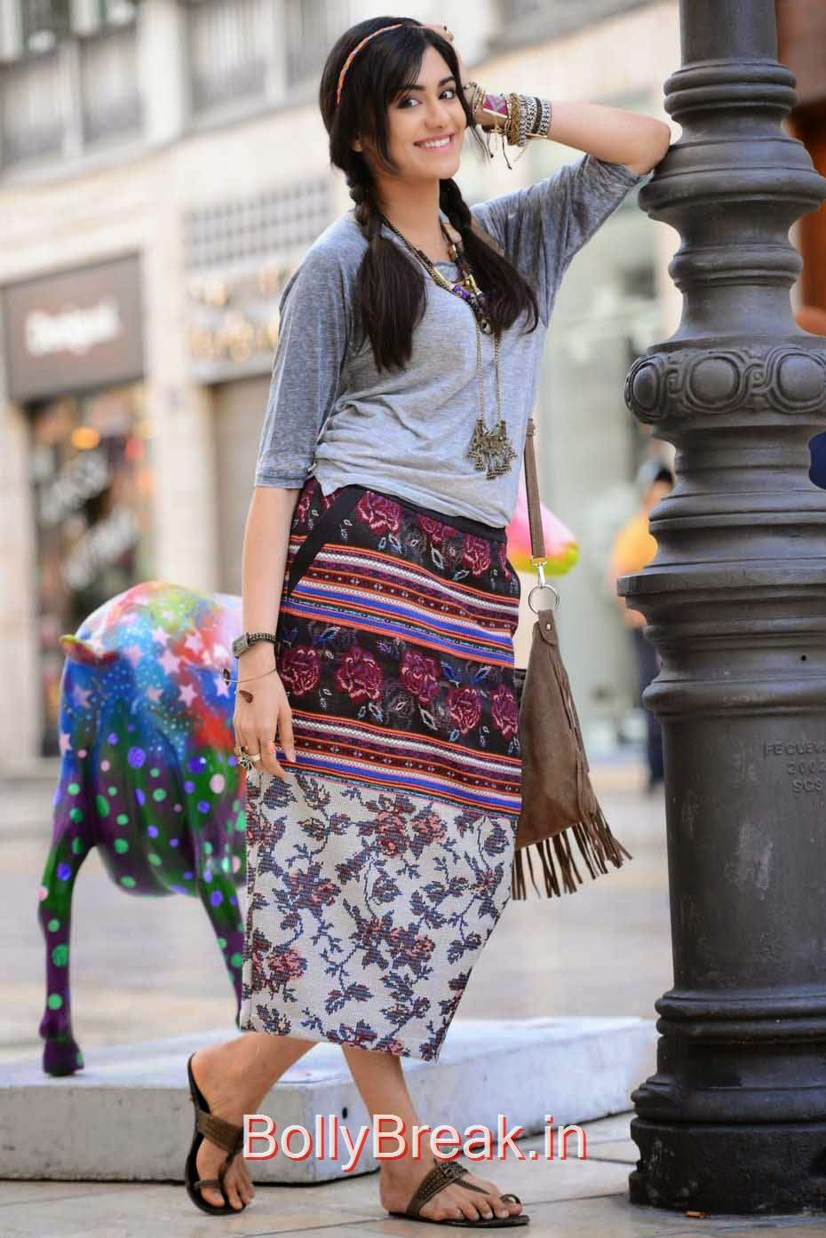 Telugu Actress Adah Sharma, Adah Sharma Hot Pics In Grey and White Top