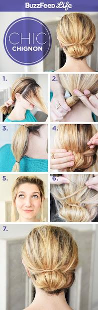 cute chignon hairstyle step