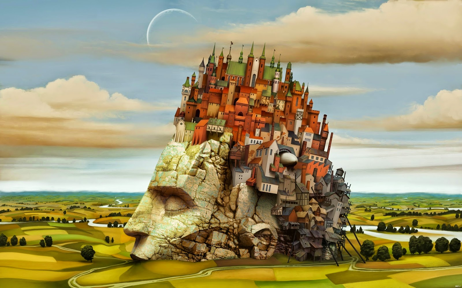 stone head with colorful city on top (art)