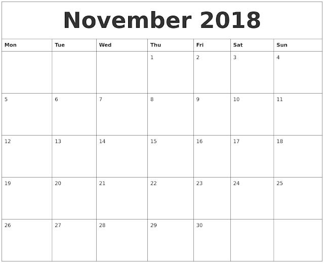 November 2018 Calendar Edit