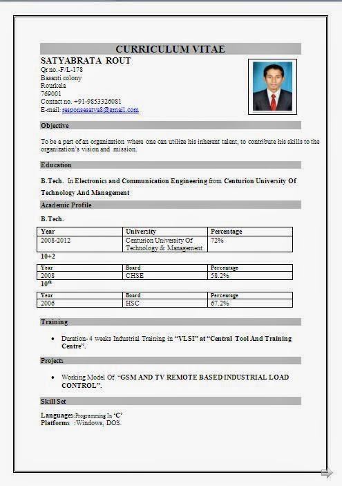 Resume Format Doc For Bpo