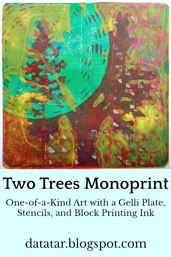 Two Trees Green and Brown Gelli Plate Monoprint