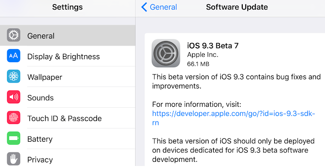 Apple has released the 7th beta iOS 9.3 to developers and public beta testers just after the release of iOS 9.3 beta 6 a week ago which contains bug fix and improvements