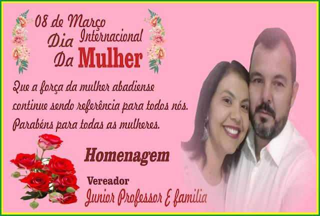 Vereador Professor Junior de Abadia de Goiás, faz homenagem as mulheres no dia Internacional da Mul