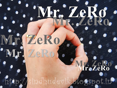 Zero symbol handsign with polka dot background.