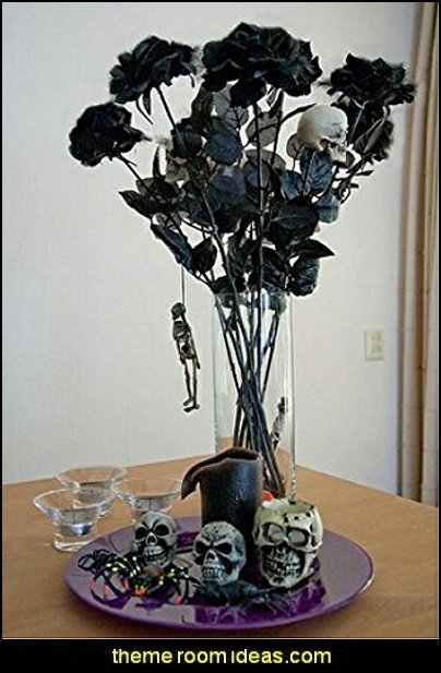 Silk Black Roses for Halloween Party Decor