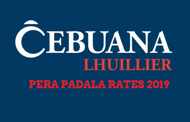 Cebuana Lhuillier Pera Padala Rates for 2019