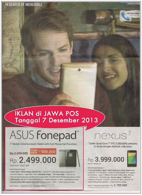 Iklan ASUS Fonepad Tablet 7 Inci dengan Fungsi Telepon