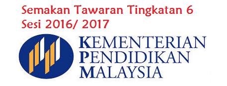 keputusan Tawaran Tingkatan 6 Sesi 2016/ 2017