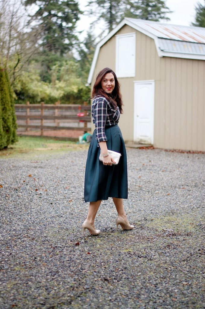 Tibi Simona skirt and evergreen plaid outfit idea