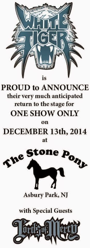 White Tiger ad for The Stone Pony December 13, 2014