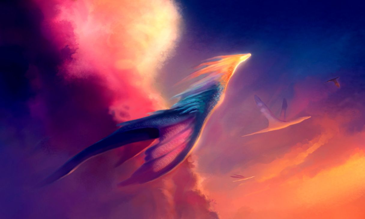 Dreamy Fantasy Flying Dark Ice Dragon Wallpaper Wallpapers