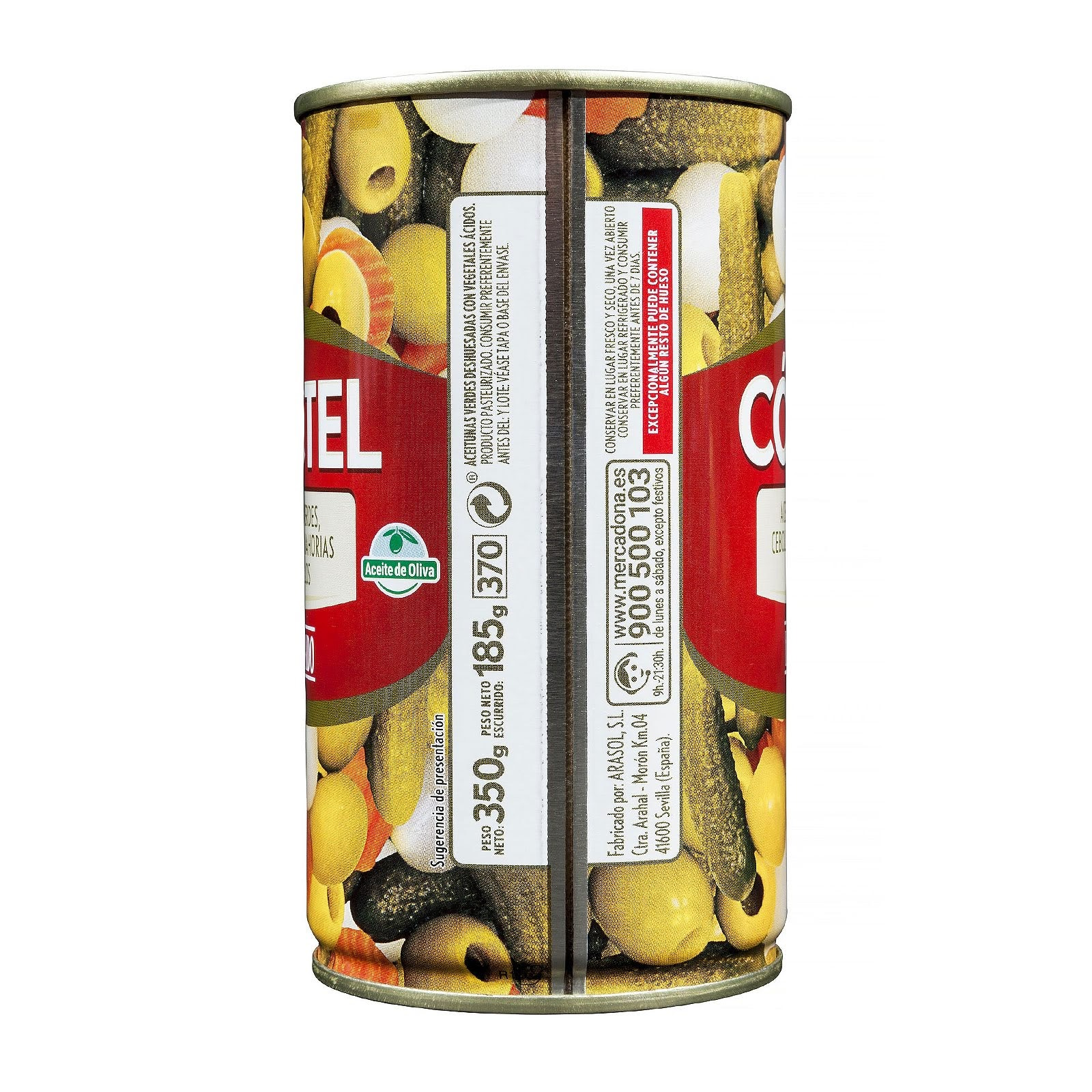 Cóctel con aceite de oliva de aceitunas verdes, cebollitas, zanahorias y pepinillos Hacendado