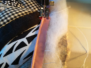 sew on pipe ribbon around edges of cushion cover craftrebella