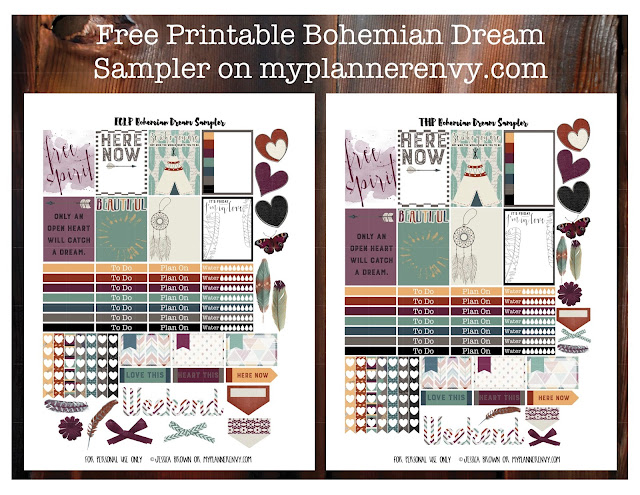 Free Printable Bohemian Dreams Sampler for the Vertical Erin Condren and The Happy Planner on myplannerenvy.com