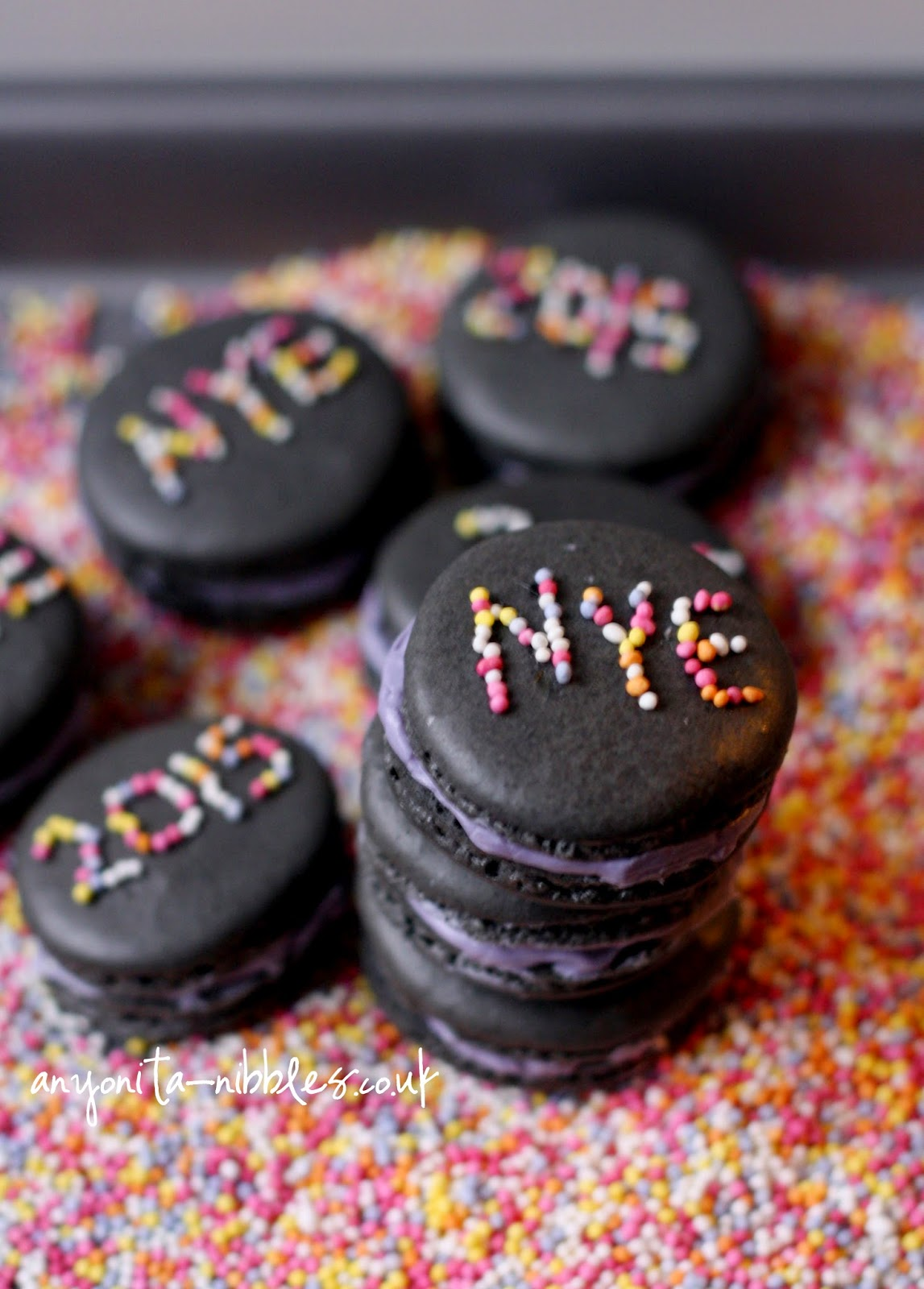 A stack of New Year's Eve macarons from Anyonita-nibbles.co.uk