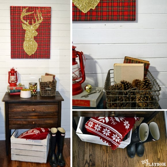 This gold glitter reindeer wall art adds a festive holiday element to any room.