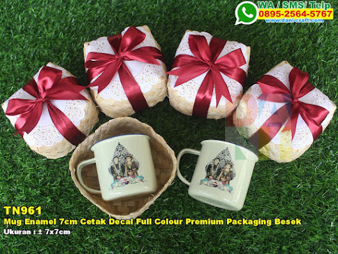Mug Enamel 7cm Cetak Decal Full Colour Premium Packaging Besek
