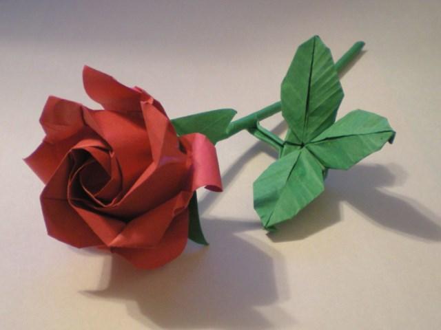 Long Stem Rose Origami Tektonten Papercraft