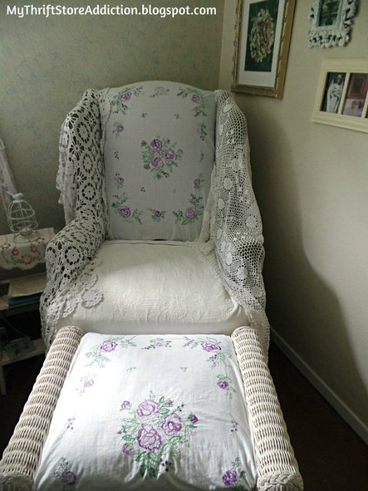 Vintage linen covered chair