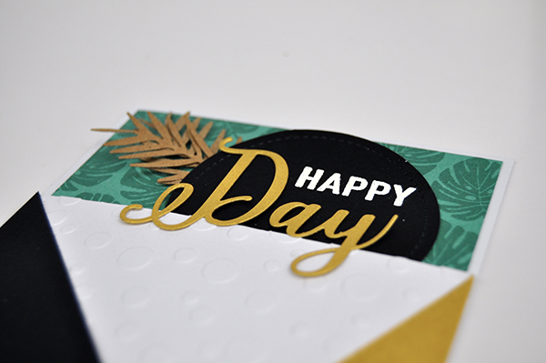 """Happy Day"" Embossed and stamped card by Jen Gallacher for www.jengallacher.com. #jengallacher #jenscards #embossingfolder #stamping #diecutting #echoparkpaper"
