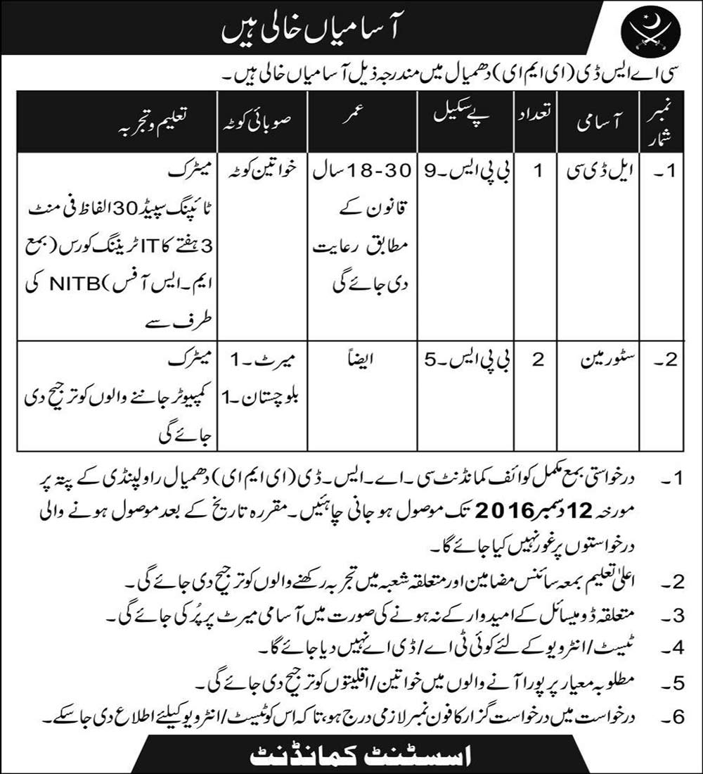 Pakistan Army CASD EME Jobs