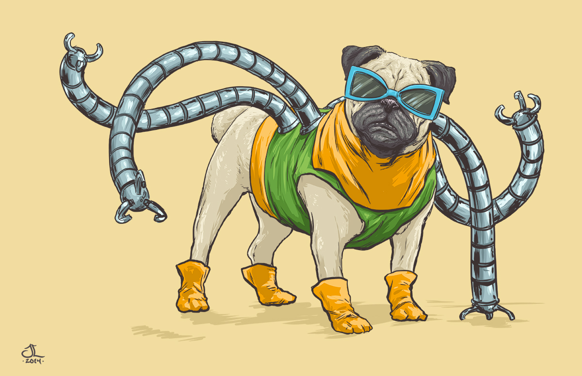 13-Doctor-Octopus-Spider-Man-Josh-Lynch-Illustrations-of-Dogs-with-Marvel-Comic-Alter-Egos-www-designstack-co