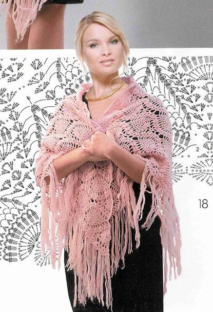 Patrón #1355: Poncho a Crochet