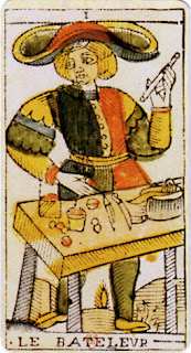 Le Bateleur, primer arcano mayor de un mazo de tarot clásico de c. 1701-1715